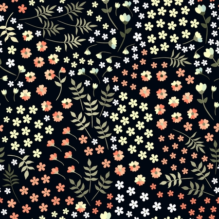 Ditsy seamless floral pattern with little flowers and leaves on black background. Vector summer design. Illustration