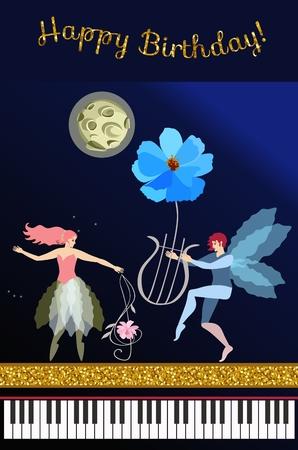 Hada musical de dibujos animados lindo con clave de sol en forma de flor del cosmos, elfo alado con lira mágica, luna en el cielo nocturno, cinta dorada, teclado de piano y texto Feliz cumpleaños en vector. Tarjeta de felicitación.