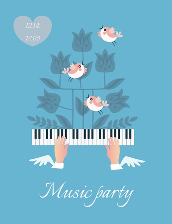 Beautiful musical poster with winged hands fluttering over piano keys, 