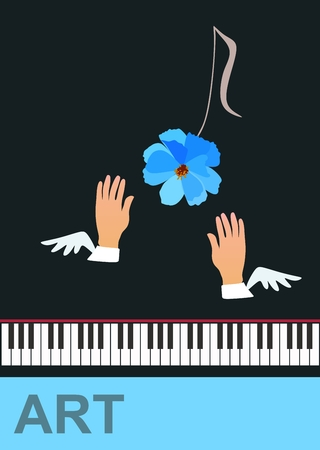 Winged hands of musician and musical note in shape of blue cosmos flower isolated on black background in vector. Piano keyboard and abstract text. Banner, poster. Ilustração