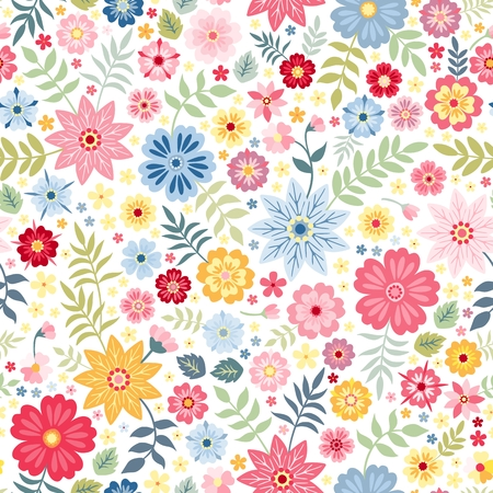 Seamless ditsy floral pattern with cute little flowers on white background. Vector illustration. Print for fabric, paper, wallpaper, wrapping design. Illustration
