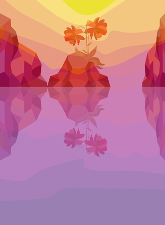 A beautiful red flower and mountains reflecting in the ocean at sunset or dawn. Aloha. Vector illustration. Travel, exotics, pacification.