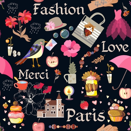 Seamless romantic pattern with candle, house, cup of tea, various flowers, cakes, bird with envelope, hat, dress, bag, hearts, apples and strawberry on black background in vector. Text