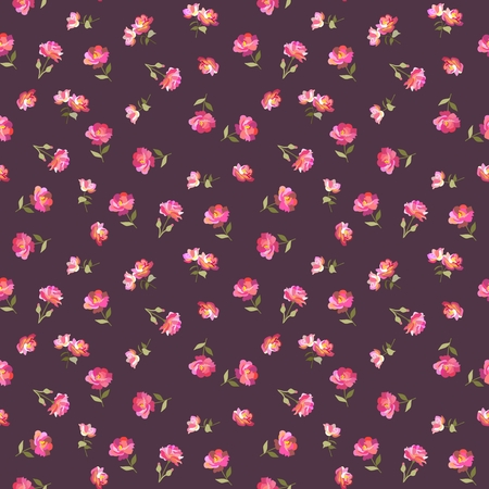 Seamless ditsy floral pattern in country style in vector. Print for fabric. Folclore motives. Ilustração