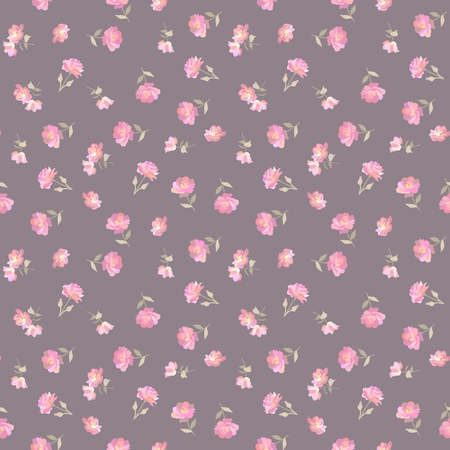 Mini gentle pink flowers on background of coffee color in vector. Ditsy seamless pattern in countru style. Print for fabric.