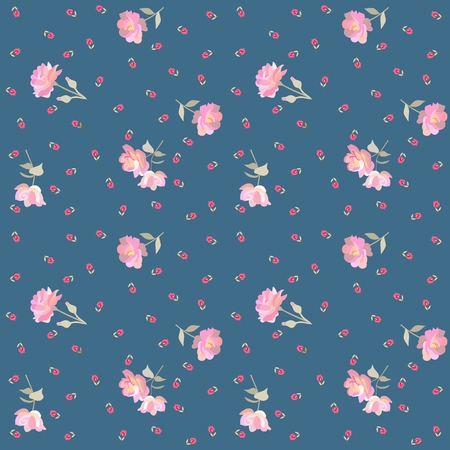 Endless ditsy floral pattern with gentle pink roses and red tiny tulips isolated on blue background in vector. Fashionable print for fabric. Vektorové ilustrace
