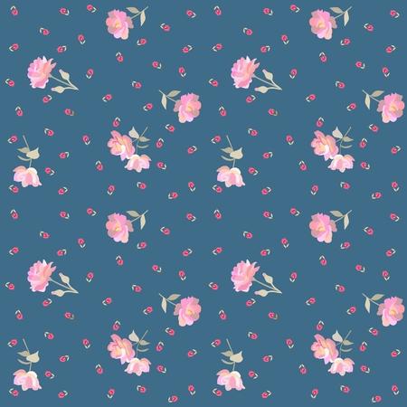 Endloses Blumenmuster mit zarten rosa Rosen und roten kleinen Tulpen einzeln auf blauem Hintergrund im Vektor. Modischer Druck für Stoff. Vektorgrafik