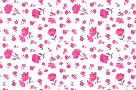 Ditsy seamless floral pattern with small and tiny bright pink rose flowers isolated on white background in vector. Summer print for fabric. Illustration