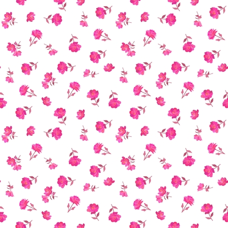 Tiny pink rose flowers isolated on white background. Seamless ditsy floral pattern in vector. Country style. Иллюстрация