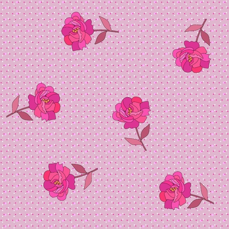 Stylized bright pink rose flowers on colorful polka dot background in vector. Endless print for fabric.