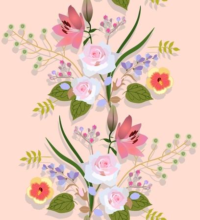 Seamless motivo floreale con mazzi di fiori di lusso da giardino e ombra su sfondo di colore pesca chiaro nel vettore. Vettoriali