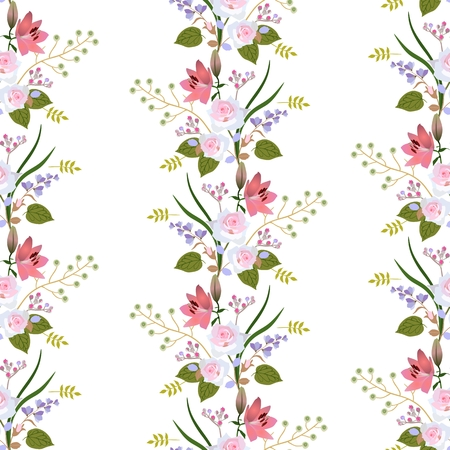 Seamless floral pattern with garland of garden flowers, leaves and branches islated on white background. Roses, lilies, buds of spirea and branch with stylized green berries.