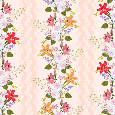 Seamless natural pattern with romantic floral wreath of lilies, roses, bell flowers, buds of spirea and branches with stylized green berries in vector. Print for fabric, wallpaper. Illustration