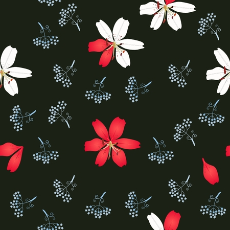 Seamless floral pattern with lilies and silhouettes of mini umbrella flowers isolated on black background in vector. Print for fabric.