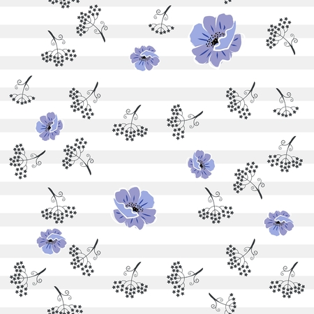 Cute seamless pattern with stylized blue poppies and black silhouettes of umbrella flowers on striped background in vector. Print for fabric, wallpaper, wrapping design. 矢量图像