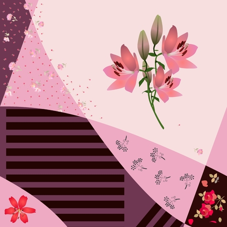 Beautiful patchwork pattern with bunch of pink lilies, various tiny flowers and stripes in vector. Vecteurs