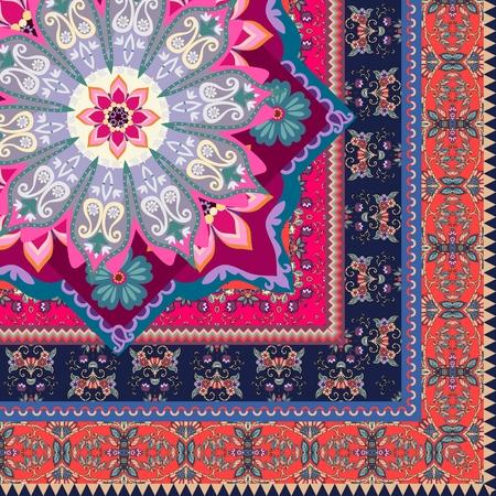 Ceramic tile in ornate ethnic style or quarter of silk scarf in vector. Indian motives. Vector Illustration