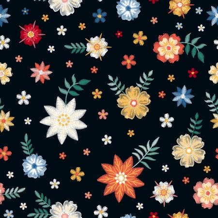 Patrón floral transparente bordado lindo con pequeñas flores de colores sobre fondo negro. Diseño de moda. Ilustración vectorial.