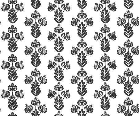 Vector seamless black and white floral pattern in vintage style. Print for fabric, wallpaper, wrapping design.