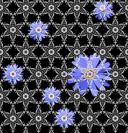 Seamless vector pattern with blue flowers under white lace ornament on black background. Print for fabric.