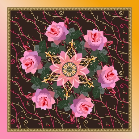 Beautiful bandana print with wreath of pink rose flowers, golden snowflake mandala and decorative frame in vector. Illustration