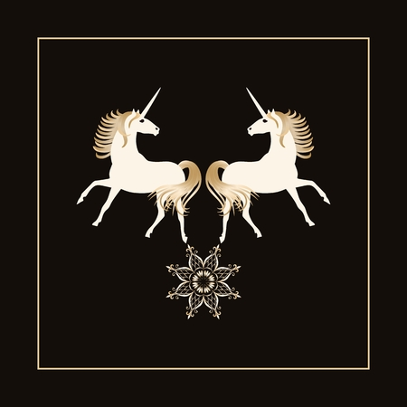 Two magical unicorns with golden manes and star - mandala isolated on black background in vector. Beautiful icon.
