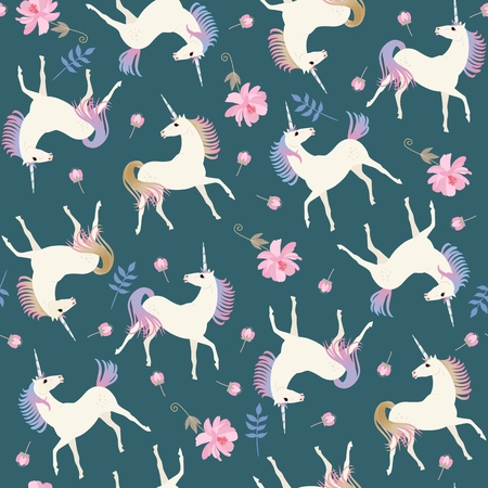 Sweet seamless pattern with cute unicorns and gentle pink flowers on emerald green color background in vector. Stock Illustratie