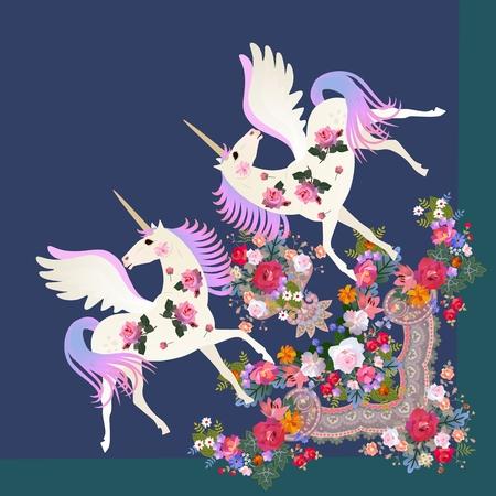 Quart de châle avec de jolies licornes ailées et ornement floral de luxe en vecteur. Vecteurs