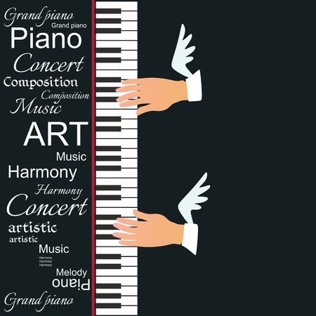 Creative vector illustration with a piano keyboard and winged musician hands isolated on a black background. The symbol of inspiration. Poster for a concert or invitation card.