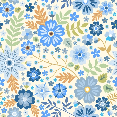 Seamless ditsy pattern with blue flowers on white background. Decorative vector print.