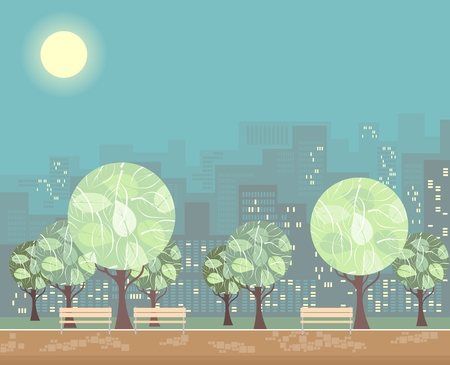 City green park with trees and benches on the background of town buildings. Vector illustration