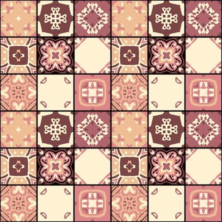 Patrón de mosaico sin costuras de parches cuadrados con adornos étnicos simétricos. Ilustración vectorial.