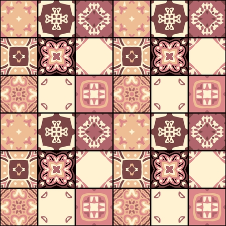 Seamless patchwork pattern from square patches with symmetric ethnic ornament. Vector illustration.