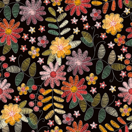 Embroidery floral seamless pattern with  beautiful summer flowers on black background. Fashion design for fabric. Vector print. 일러스트
