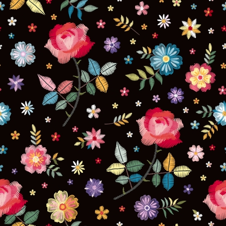 Embroidery seamless pattern with colorful flowers and leaves. Beautiful print with spanish motives. Manton shawl. Fashion design. Vector embroidered illustration.