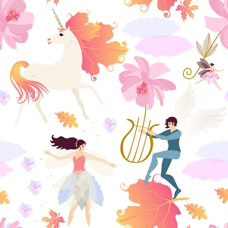Unicorn with mane in shape of viburnum leaves, winged elf plays the lyre and fairies  isolated on white background seamless vector pattern. Print for fabric, wallpaper. Vectores