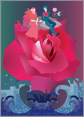A lovely young couple is flying on a huge rose over a raging ocean. Invitation to wedding in vector, greeting card, banner.