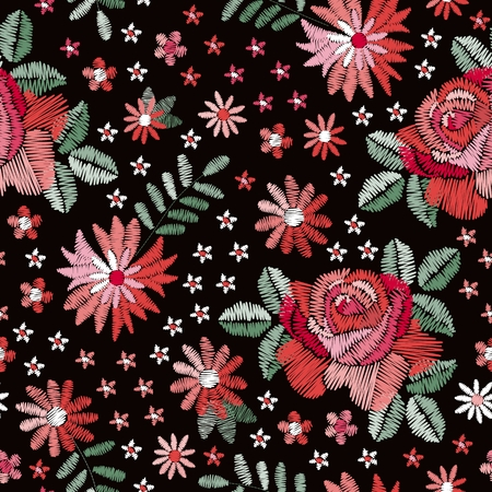 Embroidery seamless pattern with beautiful red and pink flowers on black background. Fashion design. Vector illustration.