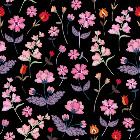 Embroidery seamless pattern with different wild flowers. Vector floral ornament on black background. Satin stitch.