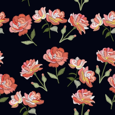 Embroidery with rose flowers. Vector seamless pattern. Decorative floral ornament on black background. Stock fotó - 113564367