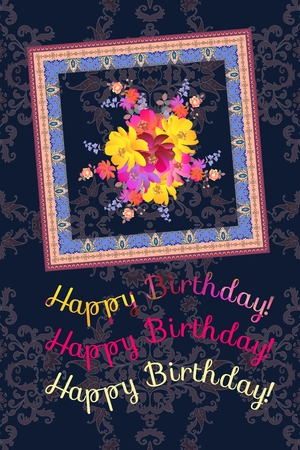 Happy birhday vertical greeting card with bright bouquet of garden flowers and ornamental frame on dark paisley background in indian style. Beautiful summer design.
