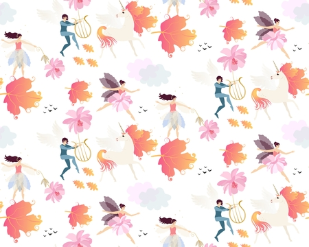 Magic seamless pattern witn winged unicorns, autumn leaves, elves, fairies, gentle pink flowers, clouds and birds isolated on white background in vector.