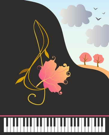 Banner with stylized grand piano, fantasy treble clef with autumn leaf and country landscape in vector. Archivio Fotografico - 111802931