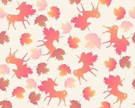 Ditsy seamless pattern with silhouettes of unicorns and autumn leaves on light beige background in vector. Illustration