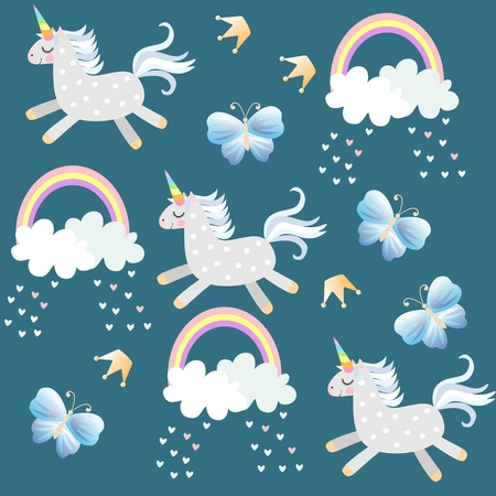 Little unicorns frolic in the sky. Butterfliea, crown, hearts, clouds and rainbow on dark emerald green background in vector. Endless pattern for baby. Print for fabric, wallpaper. Иллюстрация