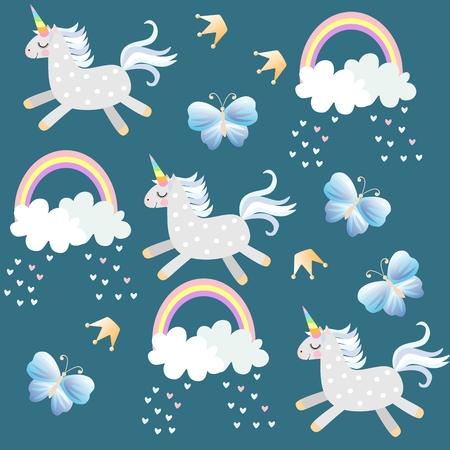 Piccoli unicorni giocano nel cielo. Butterfliea, corona, cuori, nuvole e arcobaleno su sfondo verde smeraldo scuro nel vettore. Modello infinito per il bambino. Stampa per tessuto, carta da parati.