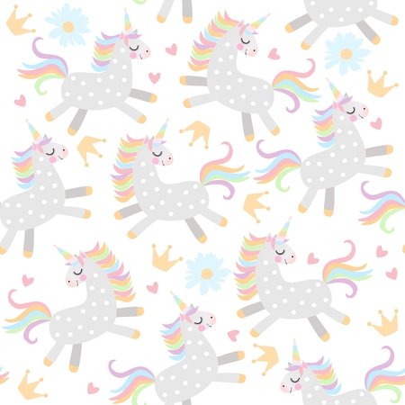 Seamless pattern with little unicorns, crowns,hearts and daisy flowers on white background in vector. Illustration