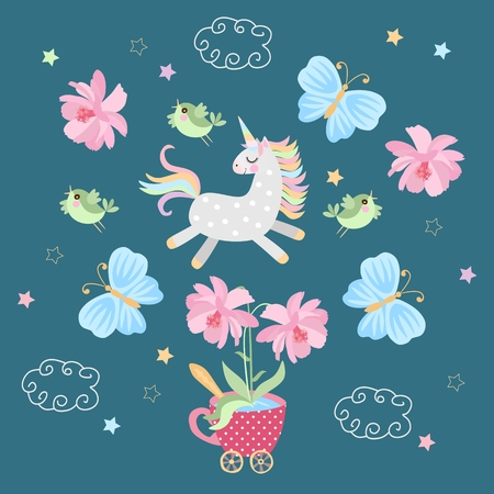Little magical unicorn is sporting in the air with birds and butterflies. Greeting or invitation card in vector.