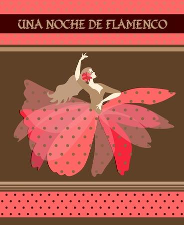 Una Noche de Flamenco (spanish text Flamenco Night). Template of flyer, poster, invitation card. Beautiful dancer girl dressed in puff