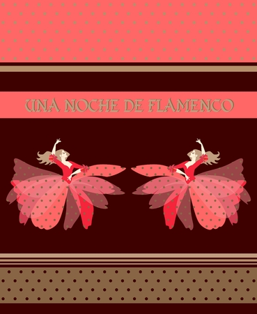 Two blonde Spanish dancers, dressed in puff skirt costumes, dancing isolated on brown background. Night of Flamenco (inspiration in Spanish). Decorative polka dots ribbons. Concert poster, invitation